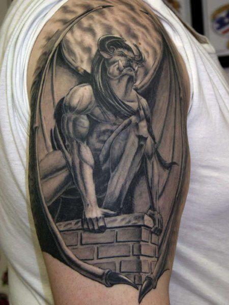 e2966cb62 3D Gargoyle Tattoo On Left Shoulder | Gargoyle Tattoos | Gargoyle ...