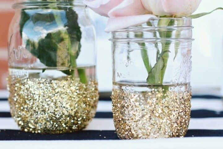 Glitter on a jar for a pretty vase