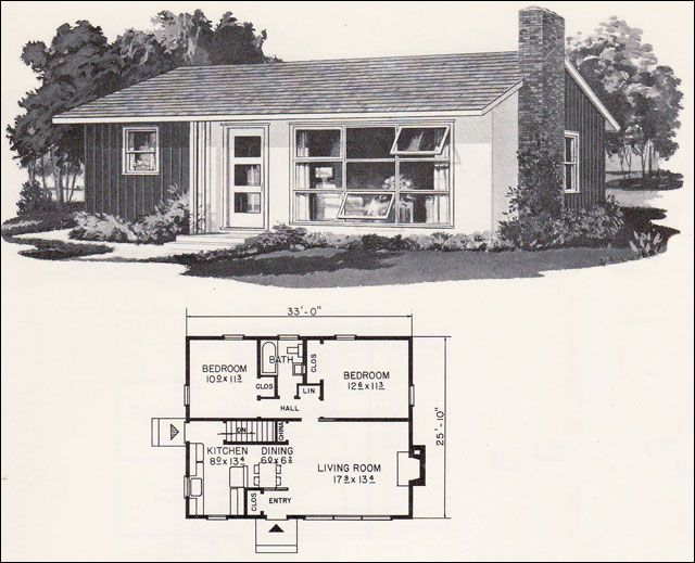 Retro mid century modern plan weyerhauser design no for Modern ranch plans