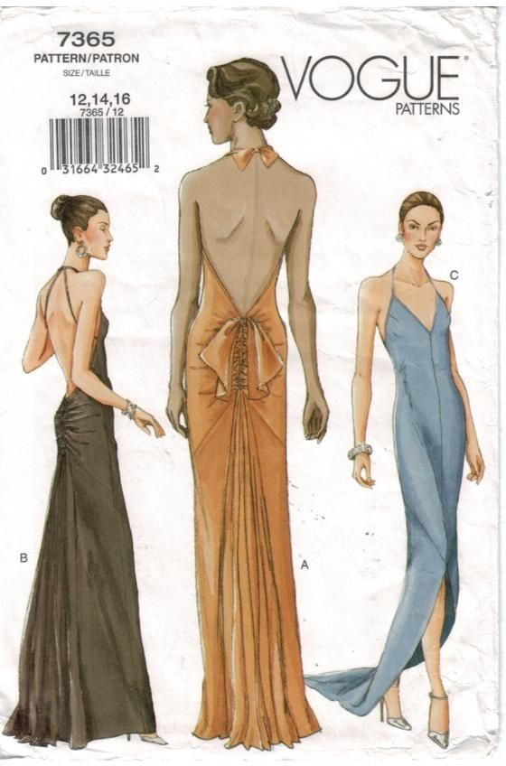 Vogue Pattern 7365 Evening Gown w Ruched back, Halter neck ~ This is ...