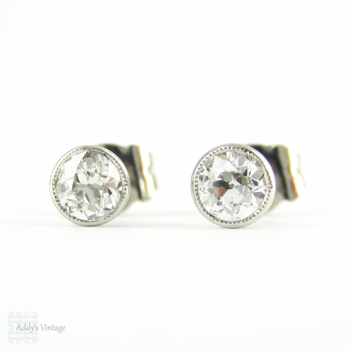 Old European Cut Diamonds Platinum Bezel Set Diamond Stud Earrings 0 52 Ctw With Milgrain Beaded Edges