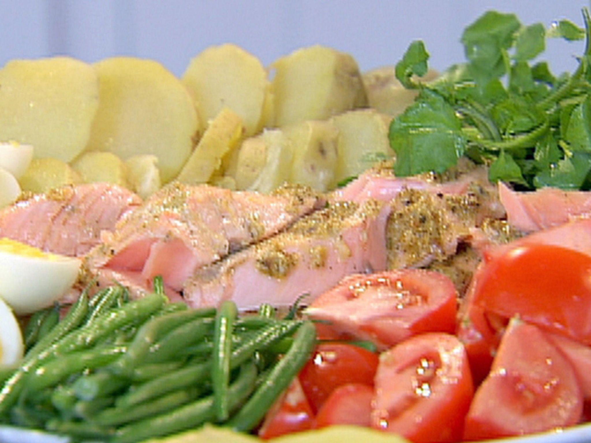 roasted salmon nicoise platter | recipe | ina garten, olives and