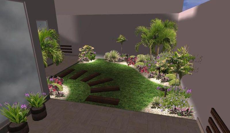 modelo de sedero con huellas ceramicas para un jardin pequeño ...