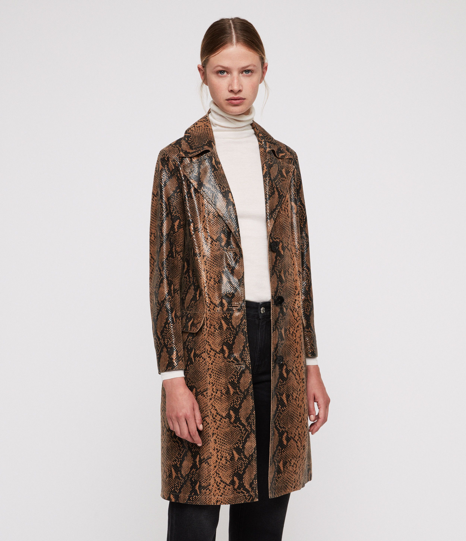 1944bf2b47 ALLSAINTS UK: Womens Oba Leather Mac (snake) | AW18 Animal | Coats ...
