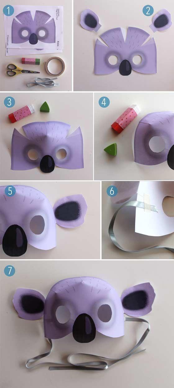 Koala mask PDF to print at home. 12 Animal mask templates to ...