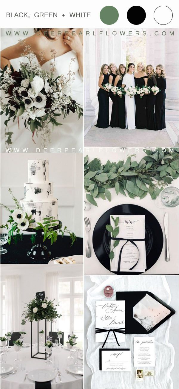 36 Black, Green and White Wedding Color Ideas for Spring | My Deer Flowers - Part 3