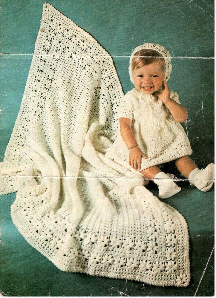 Baby Crochet Shawl dress and bonnet pattern- vintage- lovely pattern ...