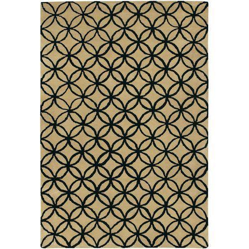 (Limited Supply) Click Image Above: Janelle Trellis Wool Rug In Black Cream