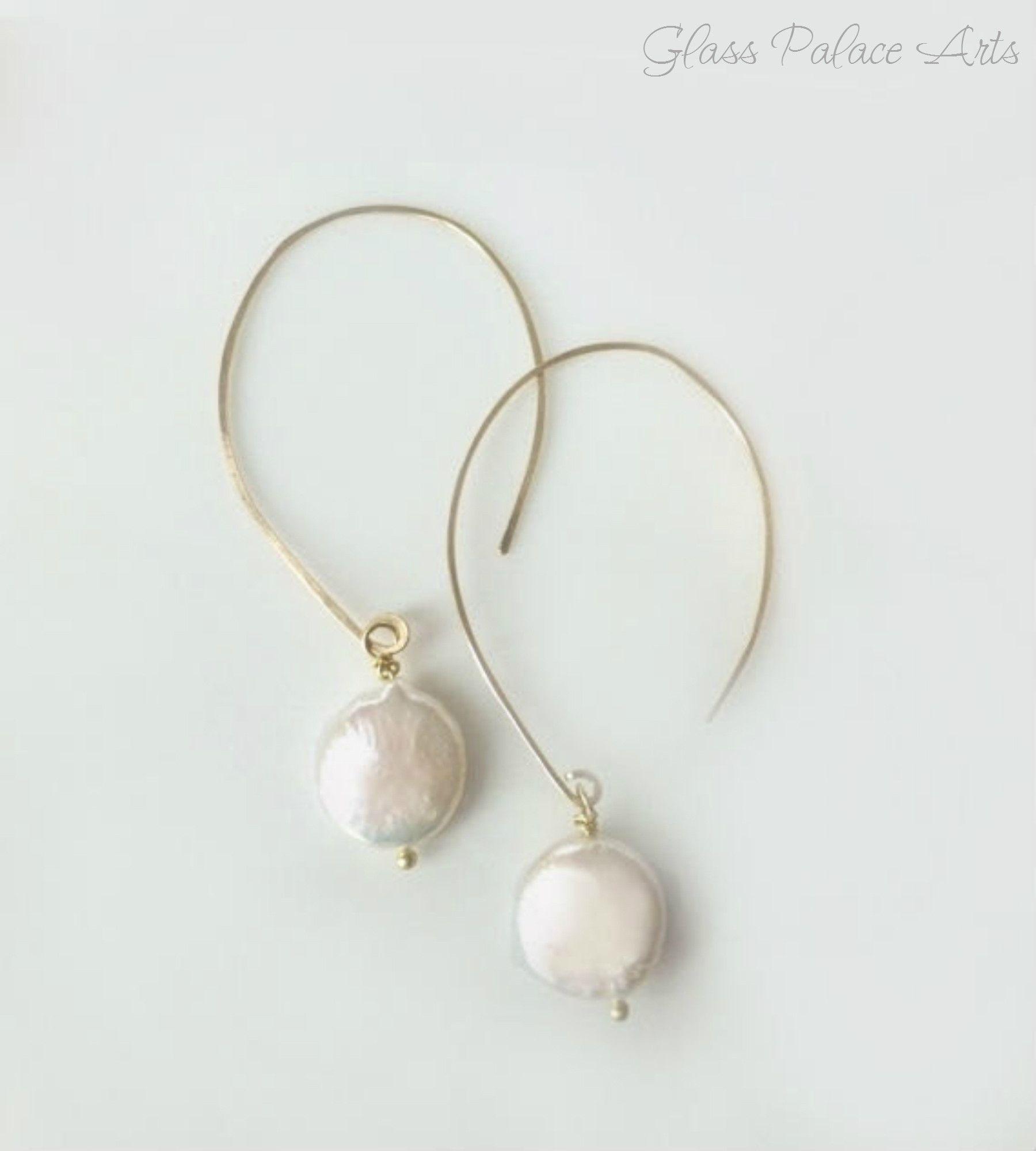 Freshwater Pearl Hoop Earring  Coin Pearl Earring