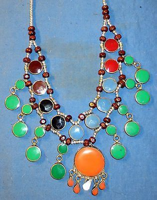 Necklace Fashion Circle Mixed Colors Afghan Kuchi Tribal Alpaca Silver 20""