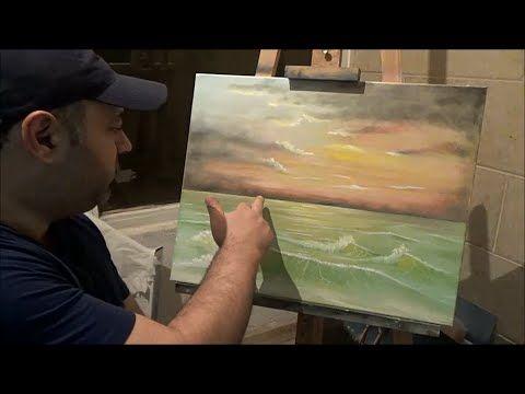 Learn To Paint Seascape Sea Sunset Part 2 درس رسم رقم 2 تعلم رسم منظر الغروب على البحر Youtube In 2020 Art Drawings Painting