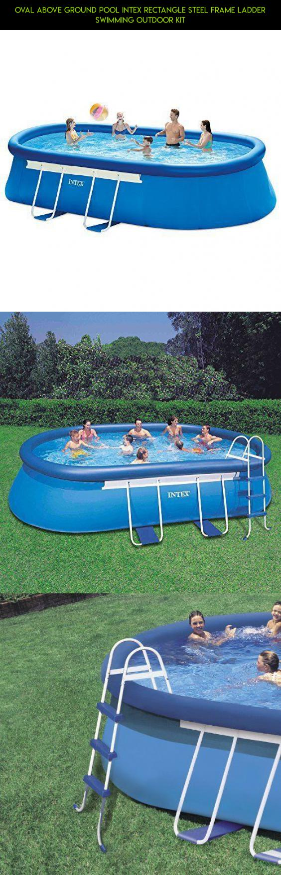 Oval Above Ground Pool Intex Rectangle Steel Frame Ladder Swimming ...