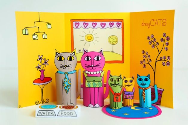 """Dressy Cats"" Paper Dolls"