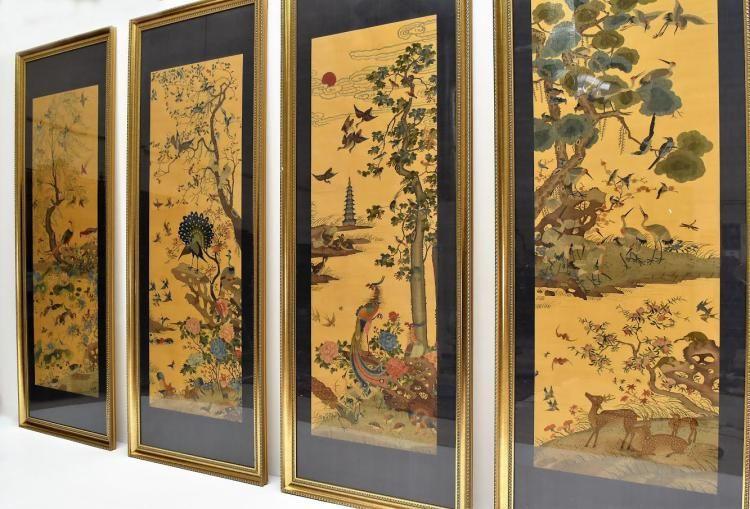 SET OF 4 MASSIVE GOLDEN SILK KESI FRAMED PANELS
