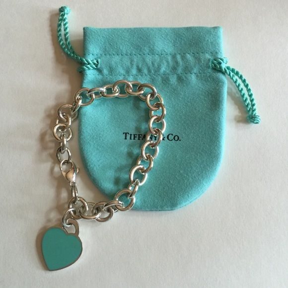 Hptiffany And Co Heart Tag Bracelet Tiffany Return To Sterling Silver Medium With Blue Enamel Finish