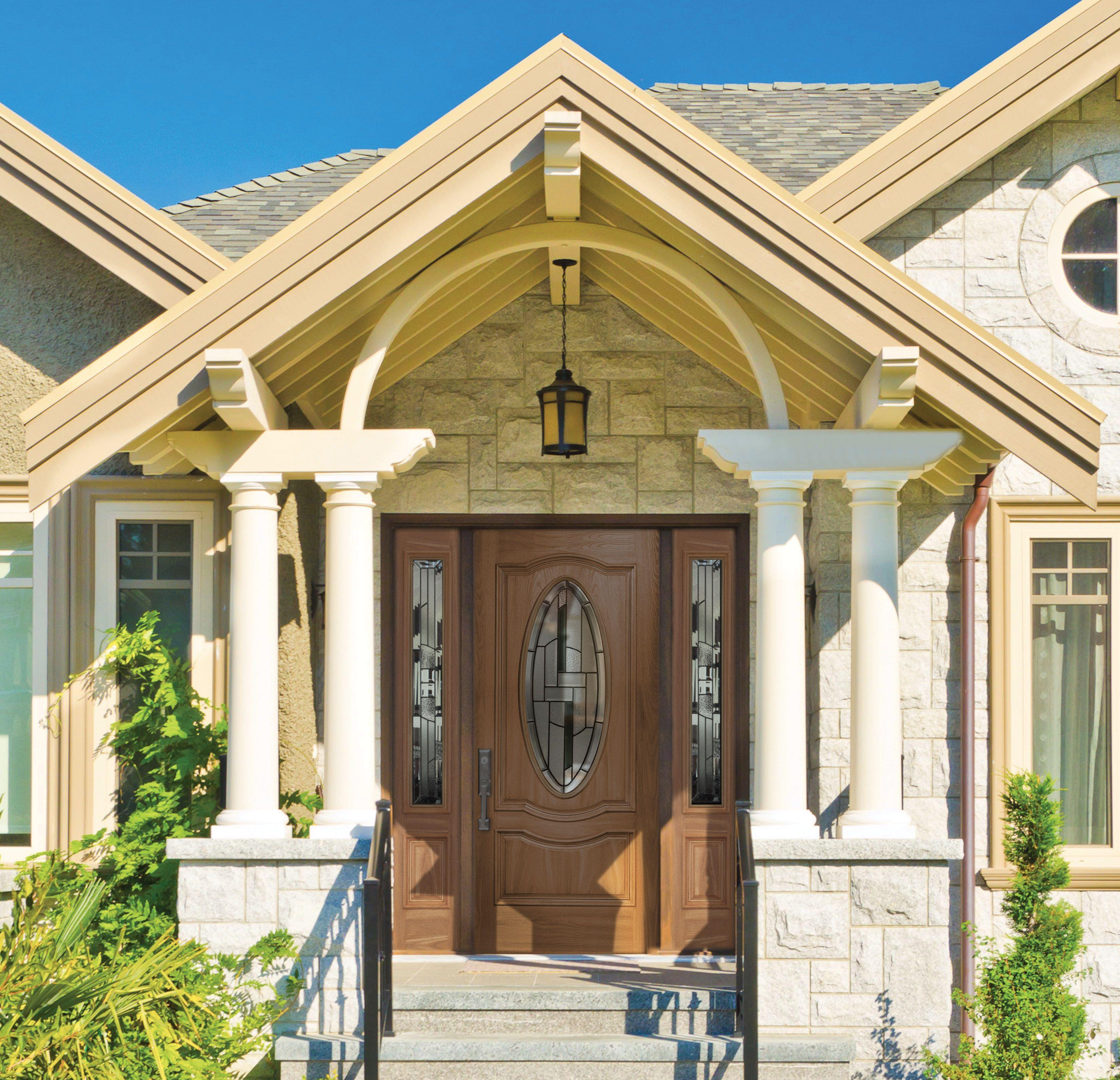 Exterior: The Barrington Oak Fiberglass Textured Door With ¾ Oval