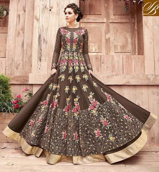 b9784450fbd STYLISH BAZAAR Shop chocolate brown Zoya engaged reception   party women  desi gown suit PFENG21004