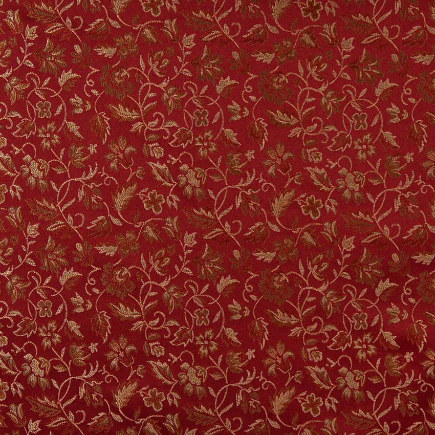 Burgundy And Coral Small Floral Leaf Damask Upholstery Fabric