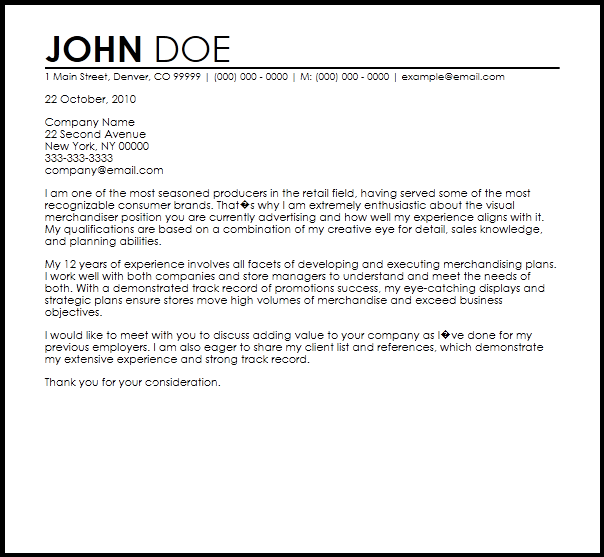 cover letter template visual merchandiser