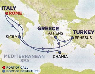 Route Of The Royal Caribbean Mediterranean Cruise
