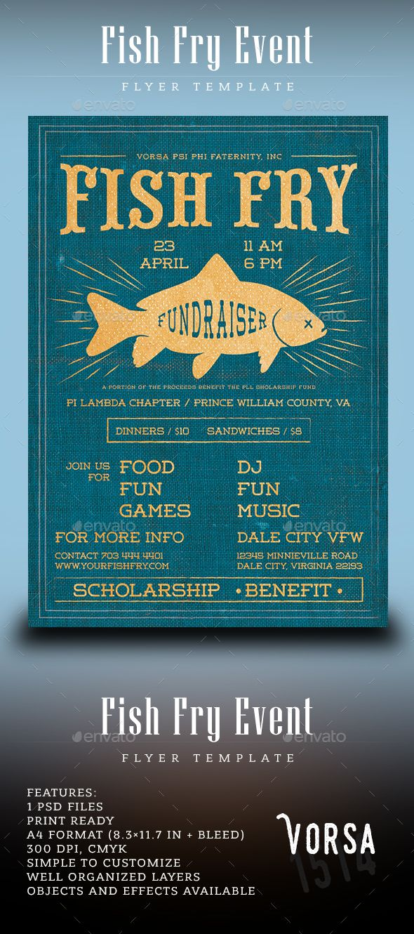 Fish Fry Event Flyer Photoshop PSD Camp Church O Download