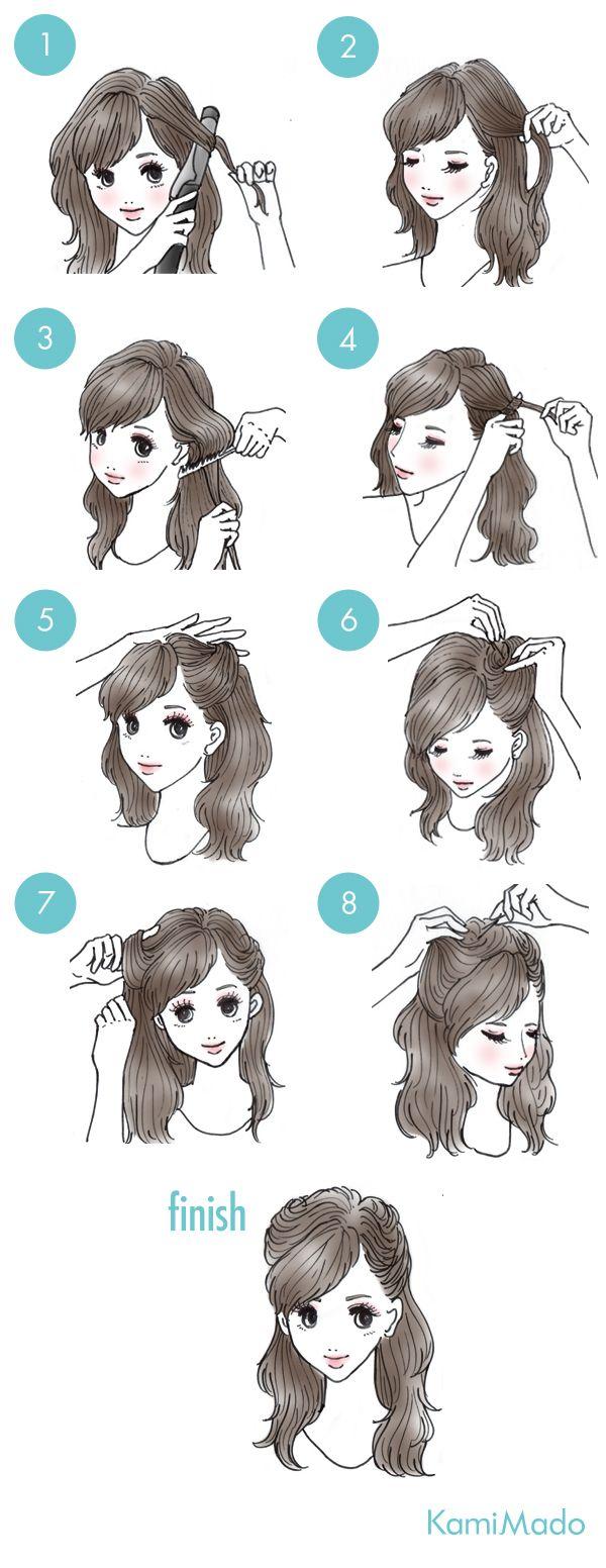 年代レトロなハーフダウンアレンジイラスト付き hairstyle