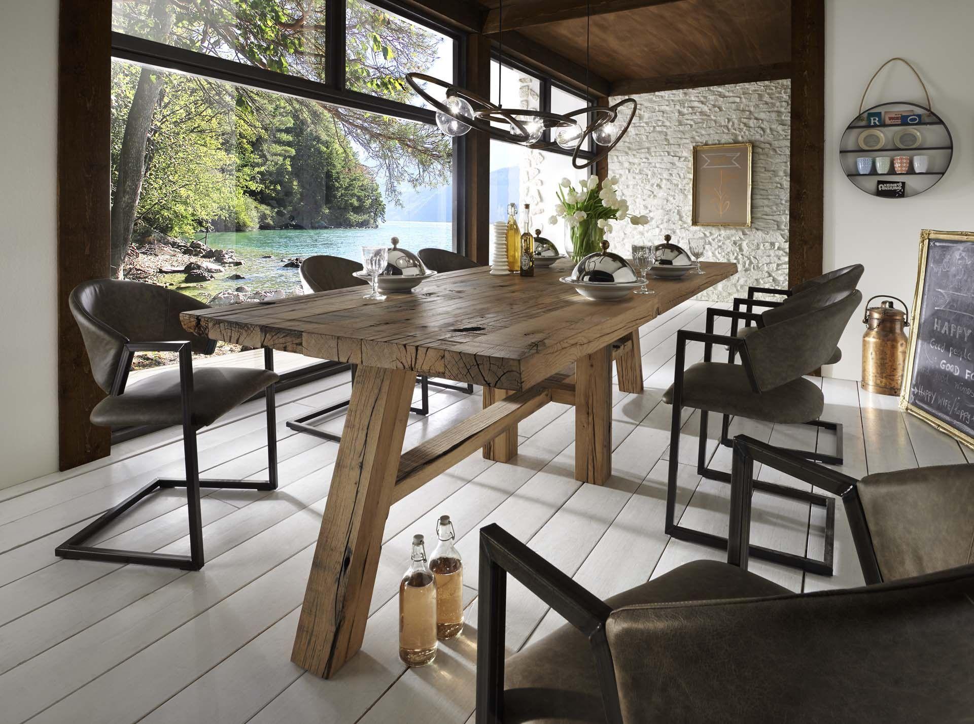 waggontisch aus rustikaler alteiche | loft & industriedesign, Esszimmer dekoo