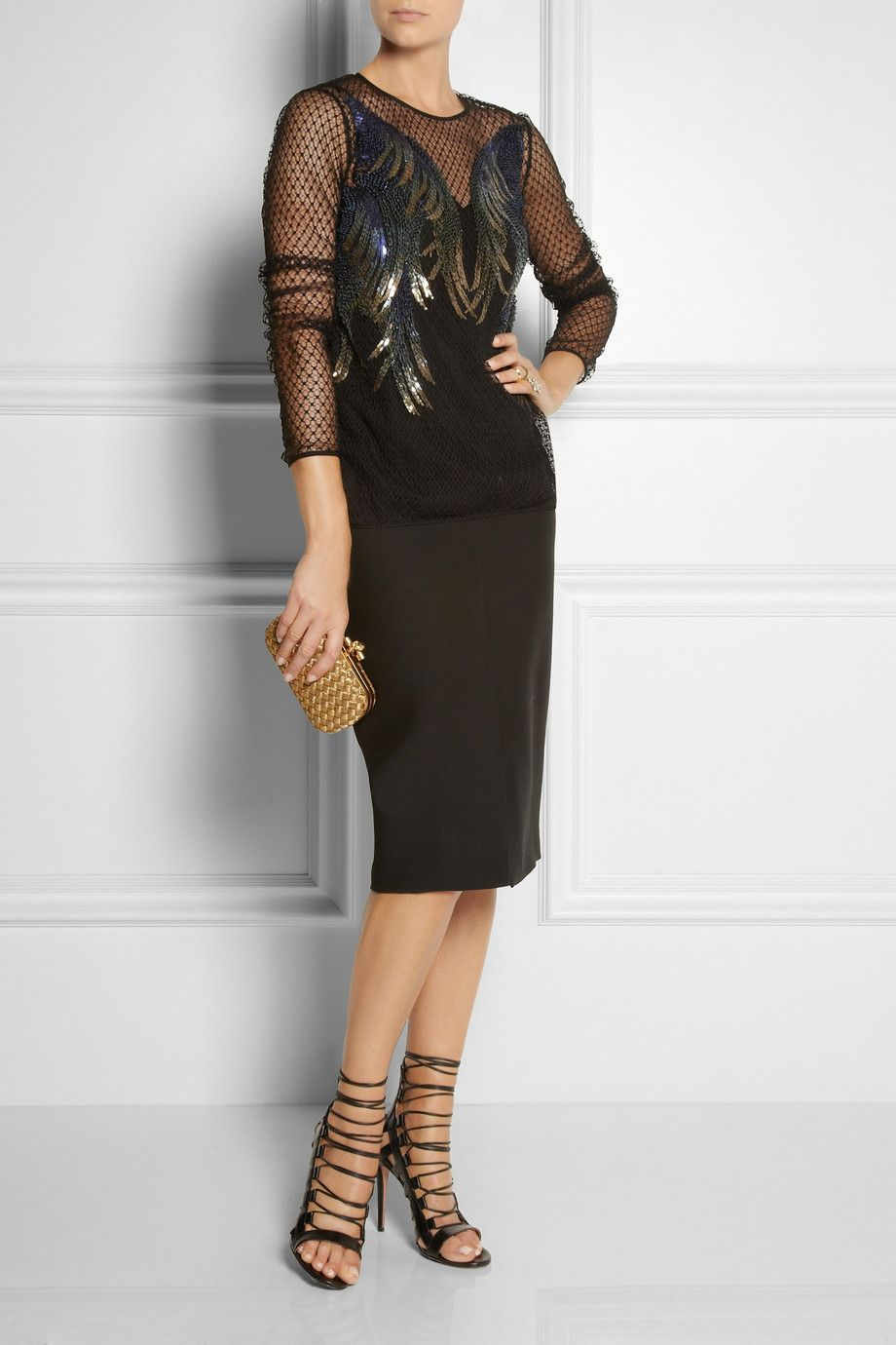 Gucci | Sequin-embellished tulle top | NET-A-PORTER.COM