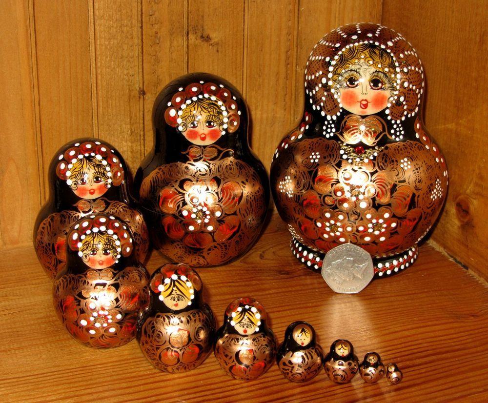 Russian HAND PAINTED nesting doll 10 BLACK GOLD Babushka Signed Matryoshka #handmade