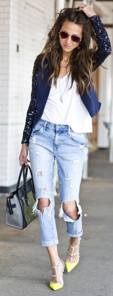 Lovers + Friends Navy Contrast Sequin Sleeve Crop Blazer