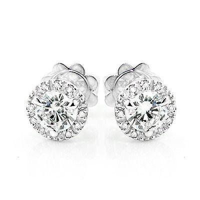 Diamond Stud Earrings Cer Halo Studs Round Diamonds Bling Rose Gold The