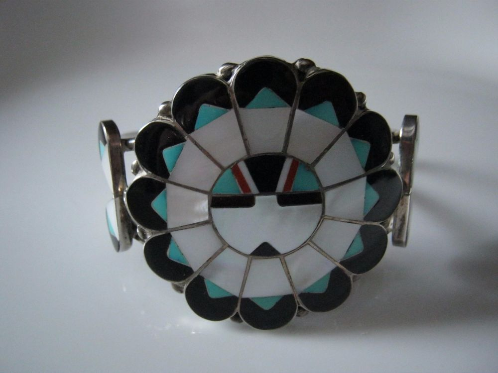 Vintage Signed Marie Qualo Zuni  Sterling Inlay Sun face Cuff Bracelet  #MarieQualo