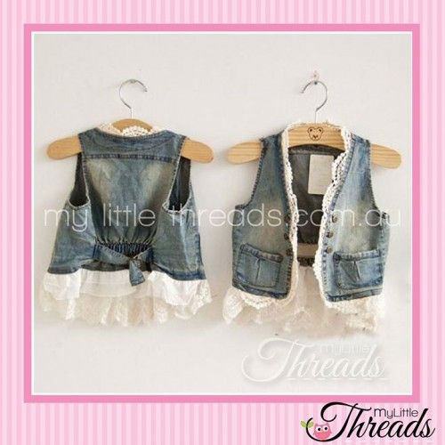Denim waistcoat with Lace (it's a lovely soft denim so it wont restrict movement)   Purchase here: $22 http://www.mylittlethreads.com.au/dark-blue-denim-vest-with-white-lace