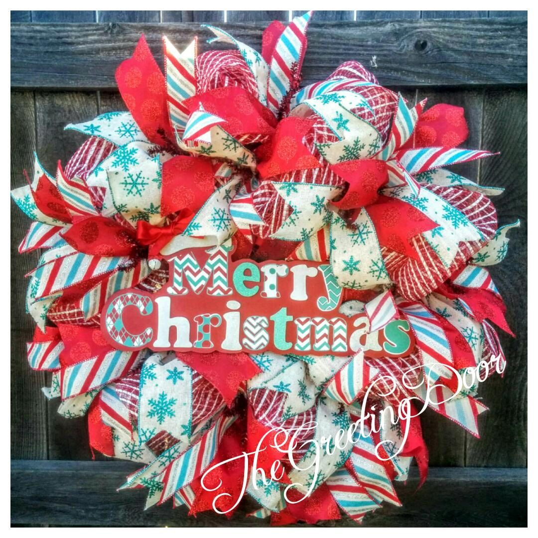 deco mesh christmas wreath christmas front door wreath holiday decor by thegreetingdoor on