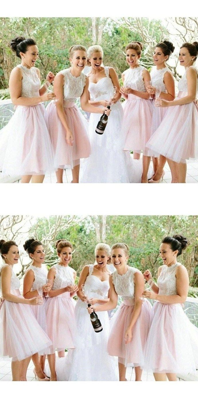 Princess lace bodice pink tulle skirt short bridesmaid dresses