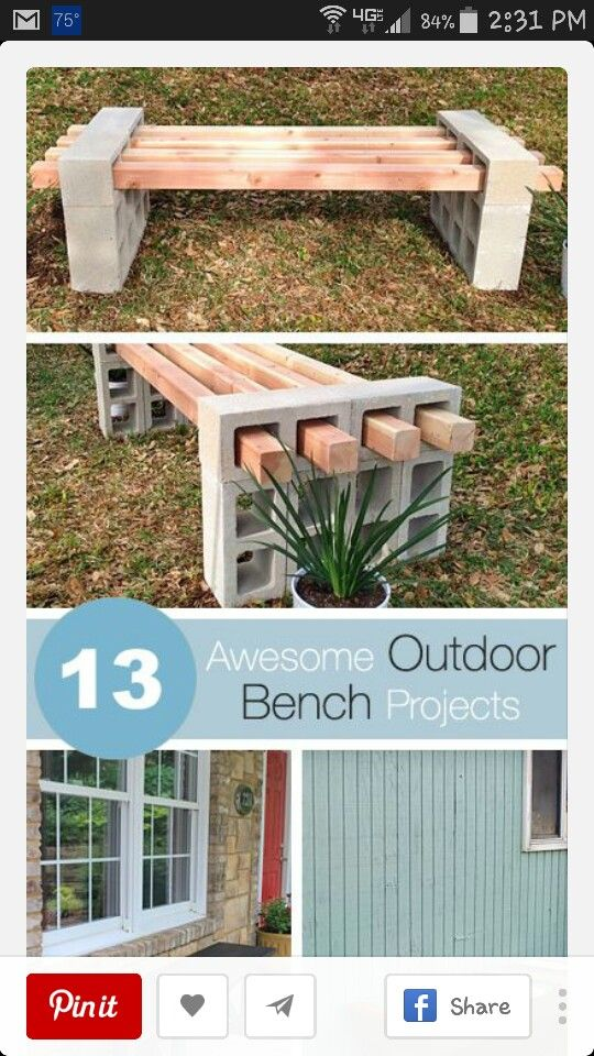 cinder block bench screen shot projects to try pinterest