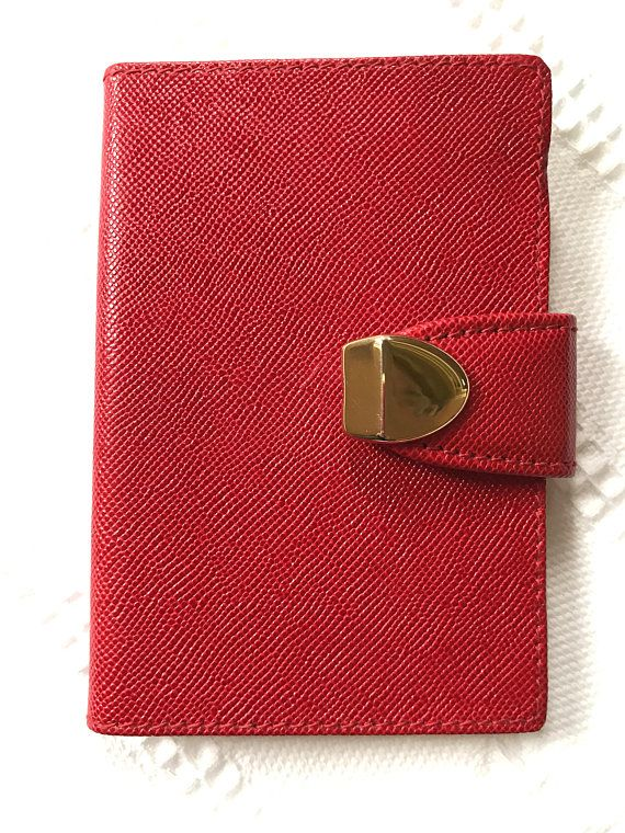 vintage italian made red leather address book for neiman marcus