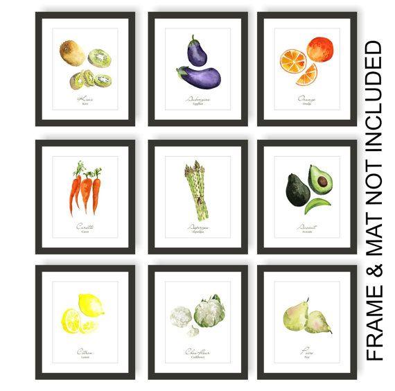 Fruits And Vegetable Prints Set Of 9 A Modern Take On Vintage