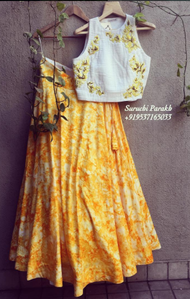a2464ef361 Bright colors! Yellow skirt with embroidered crop top. | ℓєнєηgαѕ ...