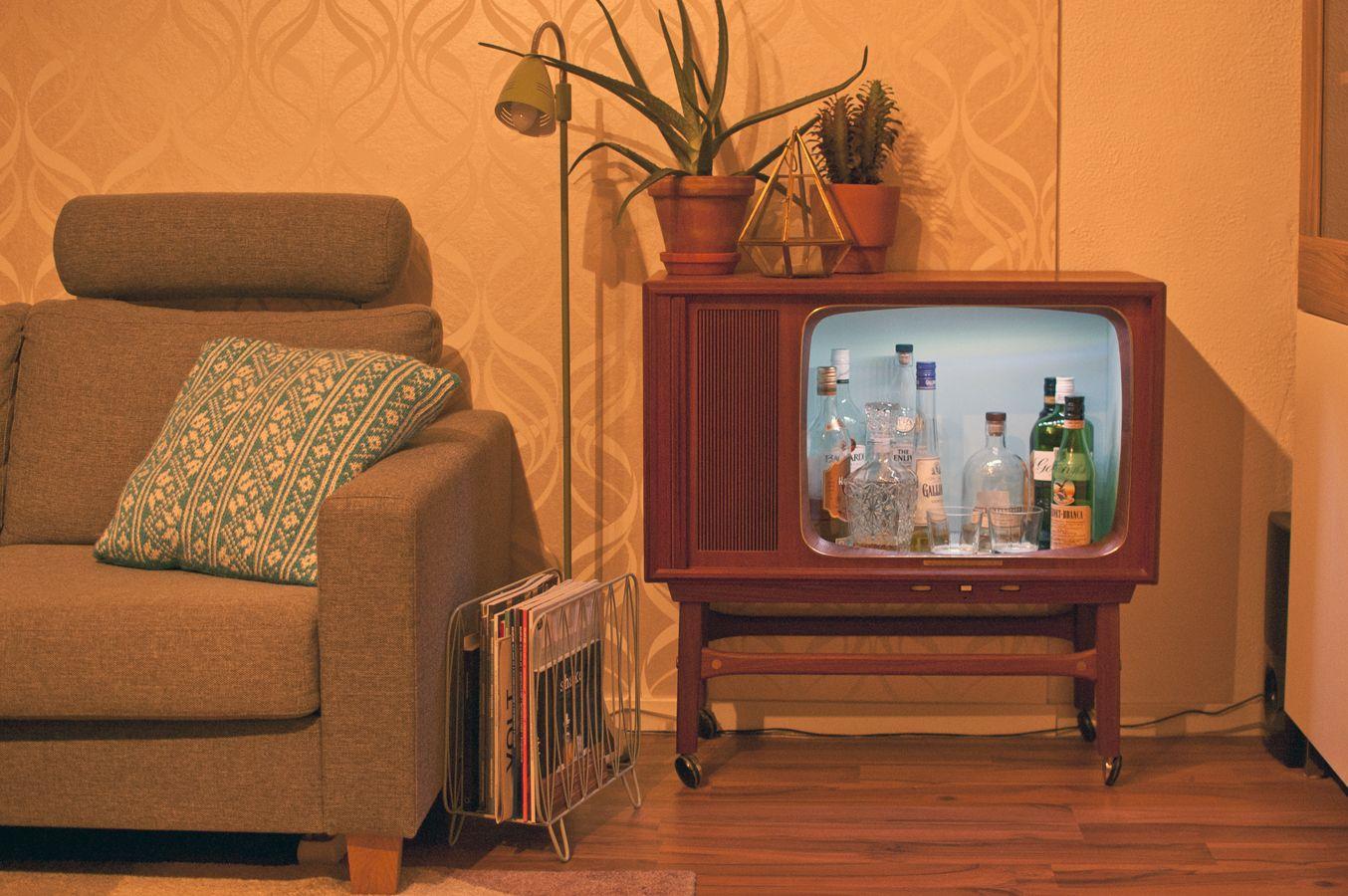 Old Tv I Repurposed As A Liquor Cabinet Home Decor Mini Bar Funky Decor