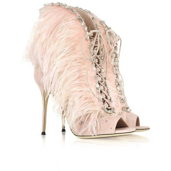 Giuseppe Zanotti Designer Shoes, Charleston Suede and Feathers High Heel Sandals