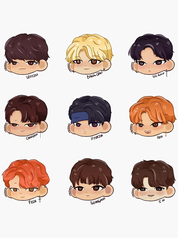 Stray Kids Chibi Sticker Pack Sticker By Sunkissfelix In 2021 Kids Doodles Chibi Chibi Hair