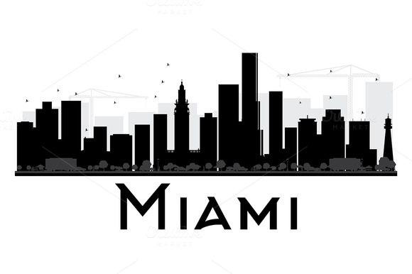 Miami City Skyline Silhouette City Skyline Silhouette Skyline Silhouette Miami City