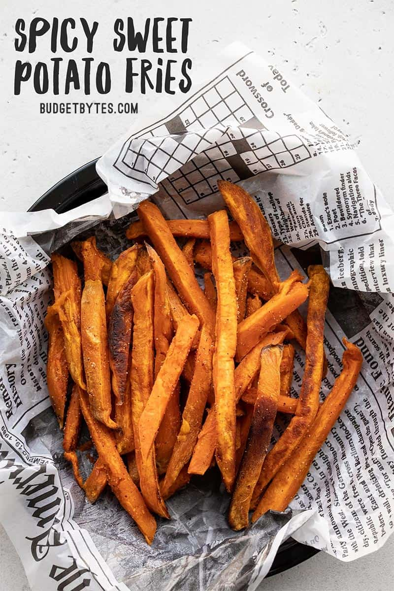 Spicy Sweet Potato Fries Oven Baked Budget Bytes Recipe Spicy Sweet Potato Fries Sweet Potato Fries Fried Potatoes