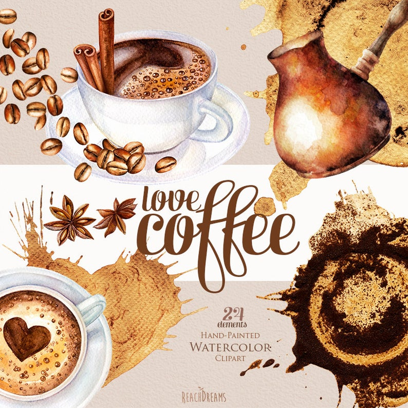 Watercolor coffee clipart coffee beans cup of cappuccino
