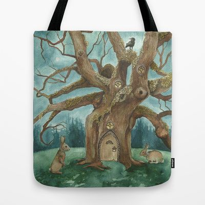 A Visit to House of Crow Tote Bag by Jess Polanshek - $22.00