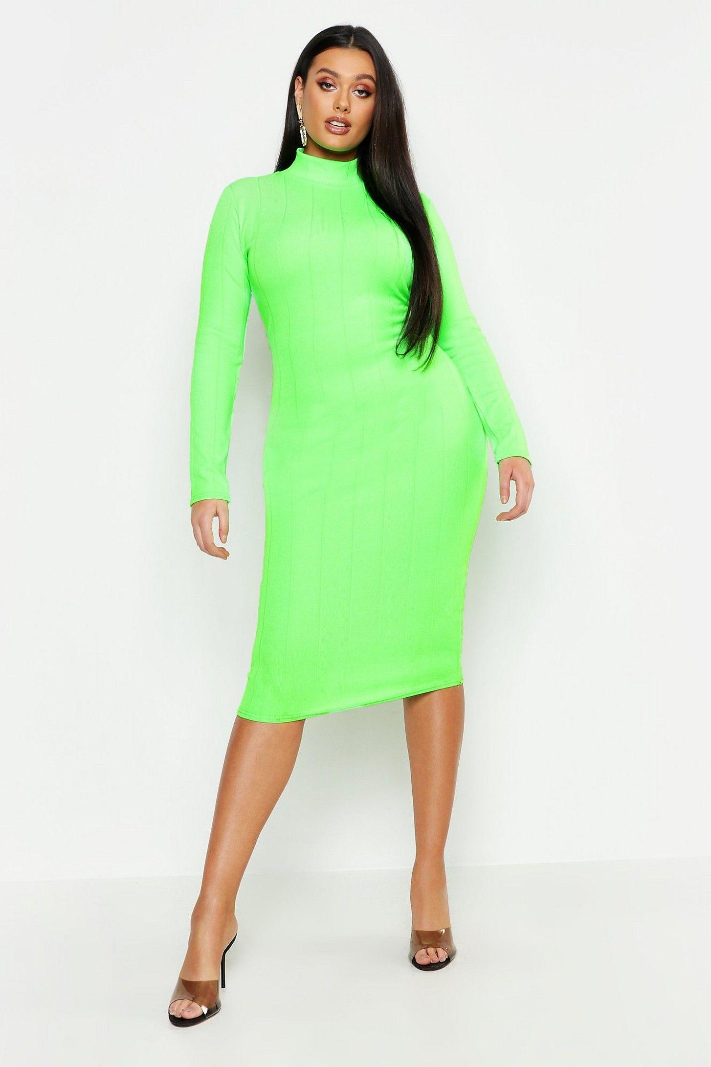 Plus Neon High Neck Long Sleeve Bandage Midi Dress Boohoo Bandage Midi Dress Neon Dresses Long Sleeve Swing Dress [ 2182 x 1454 Pixel ]