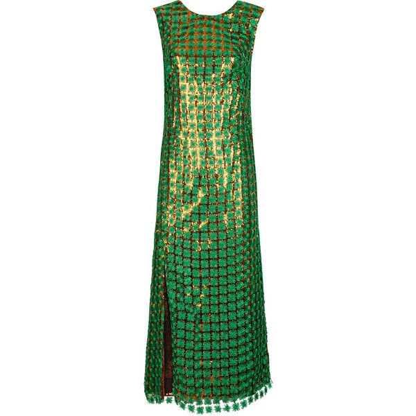 Marco de Vincenzo Green Embroidered Sequin Spaghetti Dress ($1,845) ❤ liked on Polyvore featuring dresses, chiffon dress, sleeveless dress, green chiffon dress, green dress and chiffon shift dress
