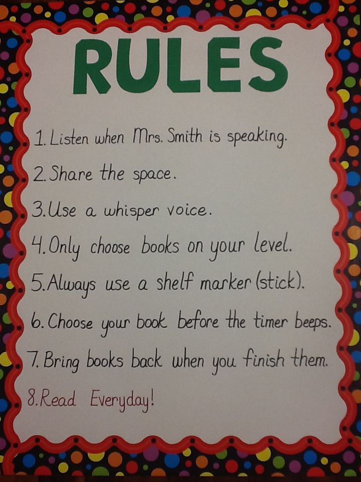 Library Rules For Elementary Students Library Library By Sara