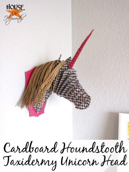 Cardboard Unicorn Houndstooth Taxidermy Unicorn Head.  Buy cardboard head.  Cover with houndstooth tissue paper using Mod Podge. @ houseofhepworths.com